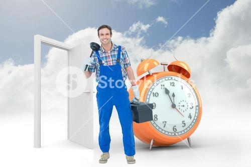 Composite image of portrait of plumber holding plunger and tool box