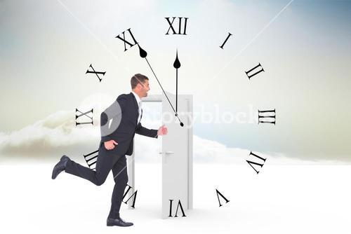 Composite image of businessman running
