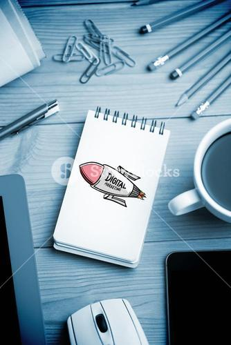 Composite image of digital marketing rocket