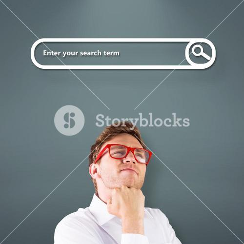 Composite image of young geeky businessman with hand on chin