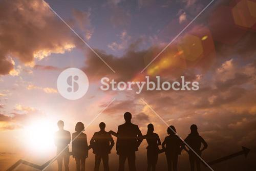Composite image of business team with arrow