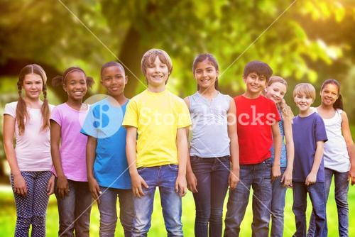 Composite image of happy friends playing in the park