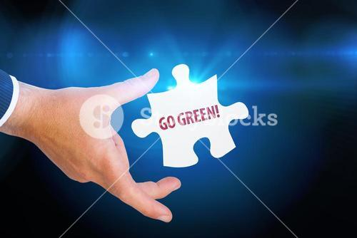 Go green! against blue background with vignette