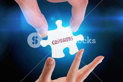 Customers  against blue background with vignette