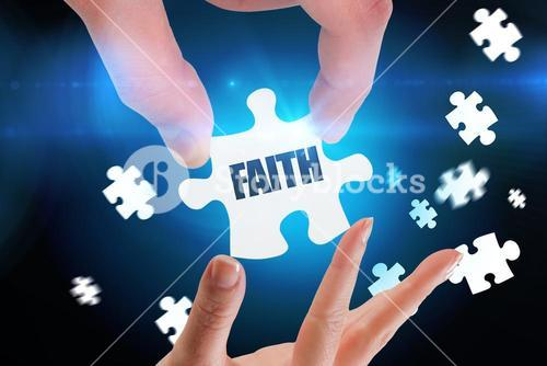 Faith against blue background with vignette