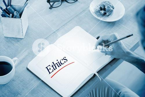 Ethics against man writing notes on diary