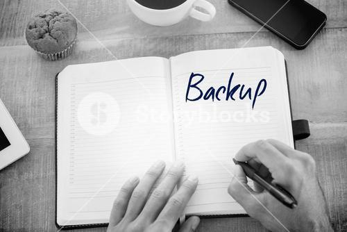 Backup against man writing notes on diary