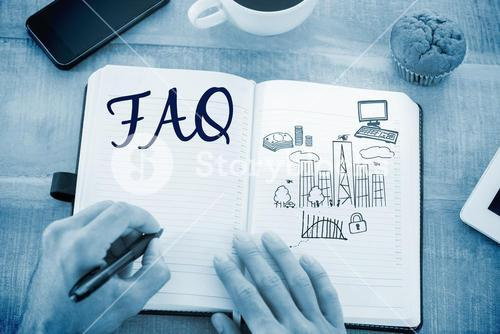Faq against business and cityscape
