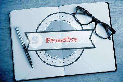 Proactive against overhead of open notebook with pen and glasses