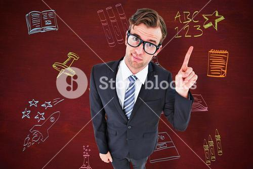 Composite image of geeky hipster businessman with finger up