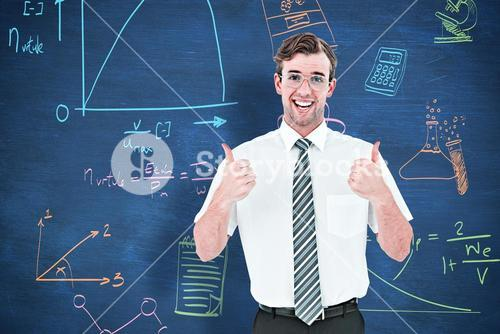 Composite image of happy geeky businessman with thumbs up