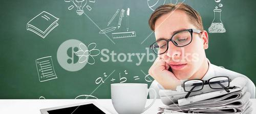 Composite image of geeky hipster falling asleep on hand