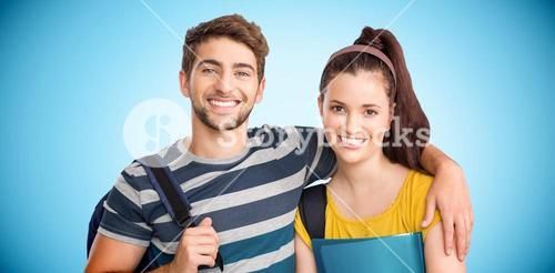 Composite image of happy students