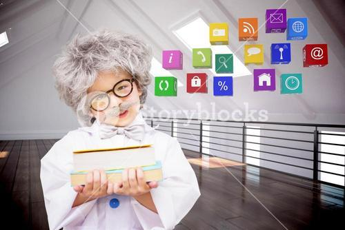 Composite image of dressed up pupil holding books