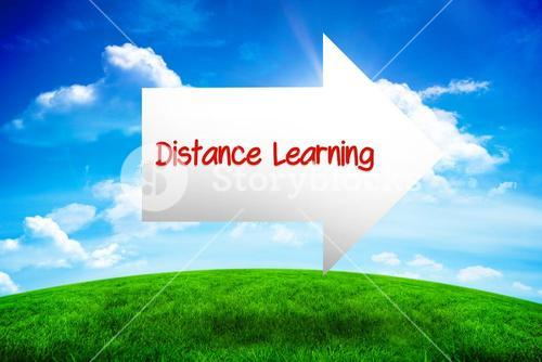 Distance learning against green hill under blue sky
