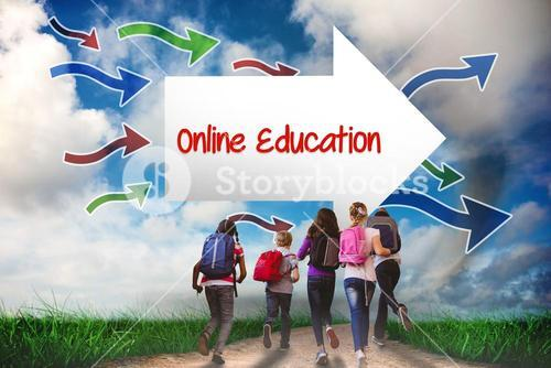 Online education against road leading out to the horizon