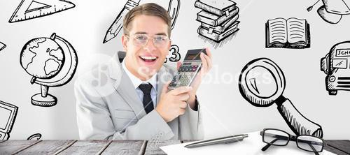 Composite image of geeky smiling businessman holding calculator