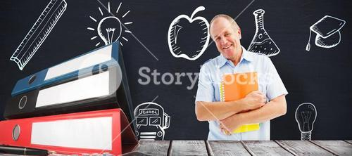 Composite image of mature student holding notebooks