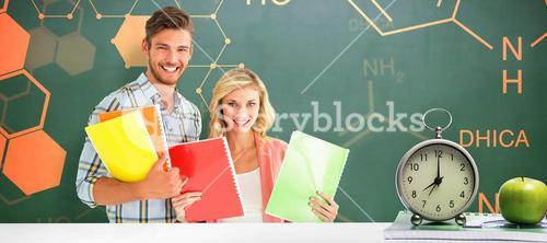 Composite image of happy students smiling at camera