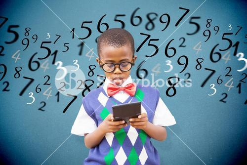 Composite image of pupil with calculator