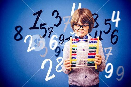 Composite image of pupil holding abacus