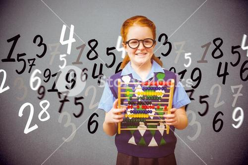 Composite image of pupil with abacus