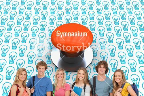Gymnasium against orange push button