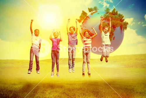 Composite image of children jumping at park