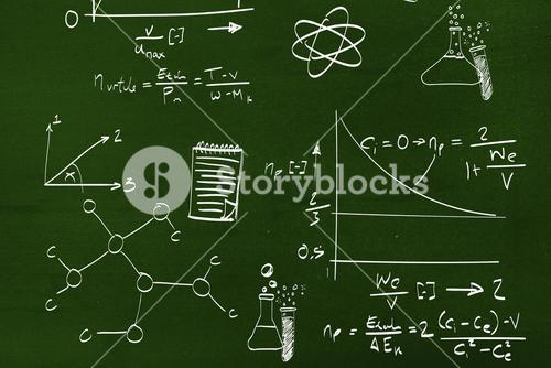 Composite image of math and science doodles