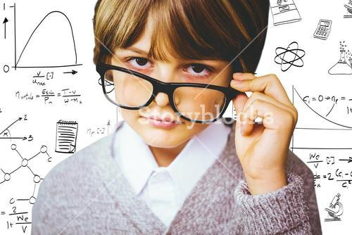 Composite image of cute pupil pretending to be teacher
