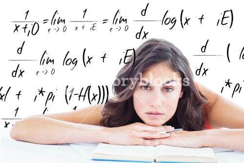 Composite image of frowning student head on her books