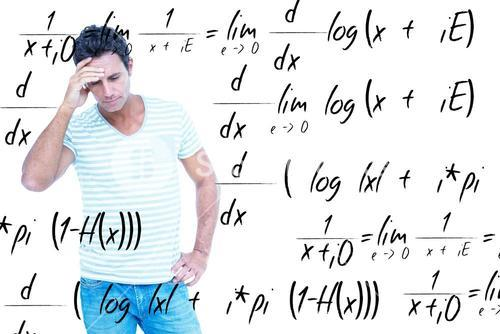 Composite image of concentrating man