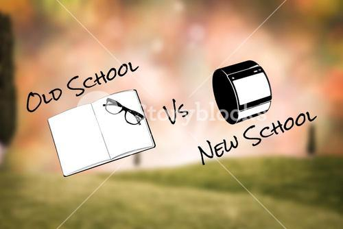 Composite image of old school vs new school