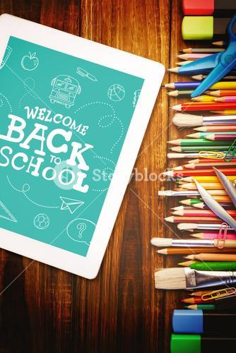 Composite image of back to school written on chalkboard