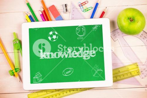 Knowledge against students desk with tablet pc