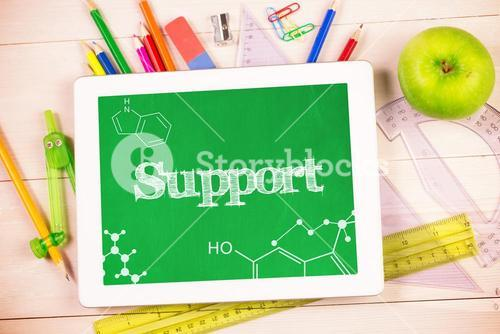 Support against students desk with tablet pc