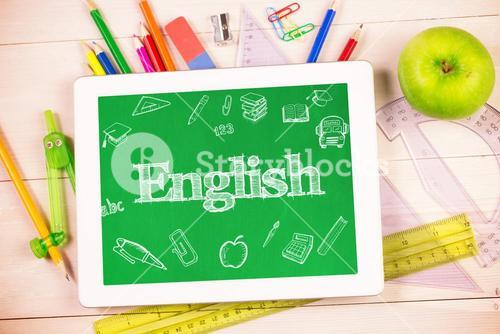 English against students desk with tablet pc