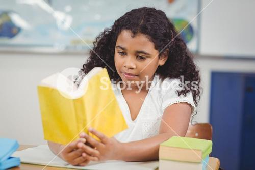 Concentrated pupil reading book in a classroom