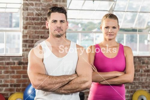 Fit couple face to the camera