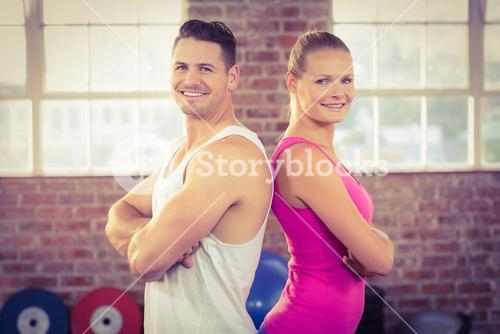 Fit couple smiling