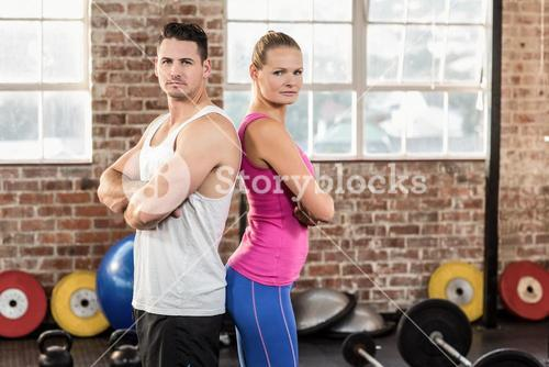 Fit couple looking at the camera