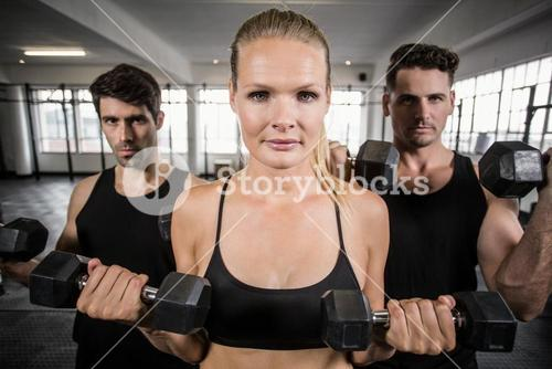 Fit people facing to the camera