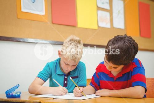 Busy students working on class work