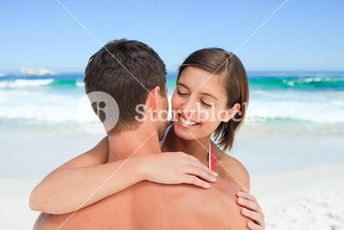 Lovely lovers at the beach