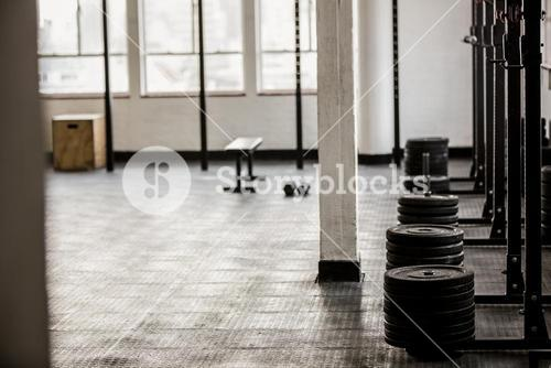 Barbell disc plates arranged