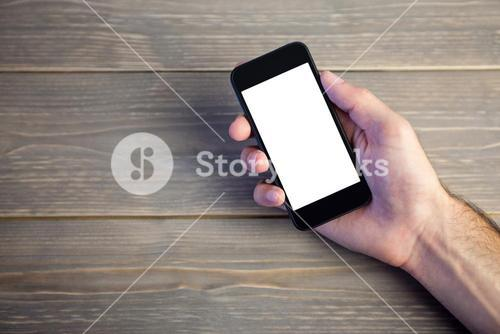 Person showing mobile phone