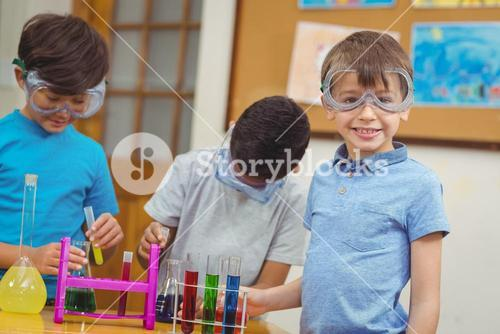 Pupils at science lesson in classroom
