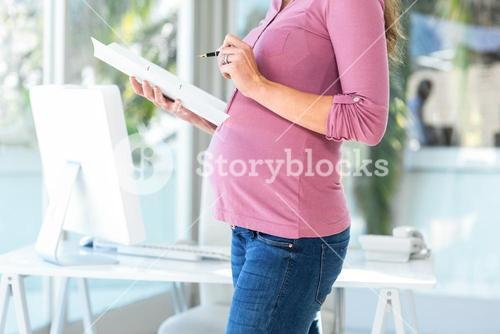Midsection of businesswoman with documents at home