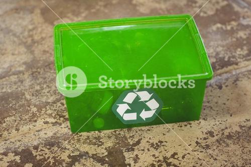 Recycling sign on plastic box