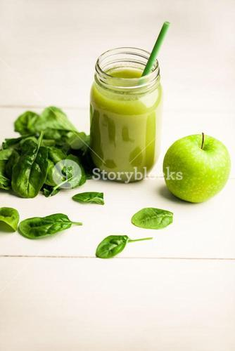 Basil and green apple with juice jar